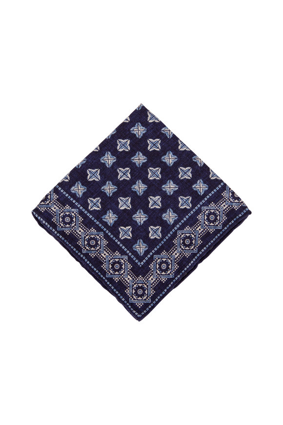 Brunello Cucinelli Navy Geometric Silk Pocket Square