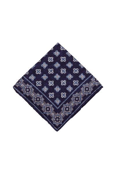 Brunello Cucinelli - Navy Geometric Silk Pocket Square