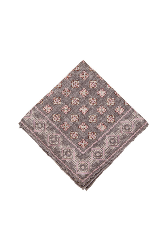 Brunello Cucinelli Grey & Pink Geometric Pocket Square