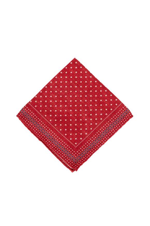 Brunello Cucinelli Red Dot Silk Pocket Square