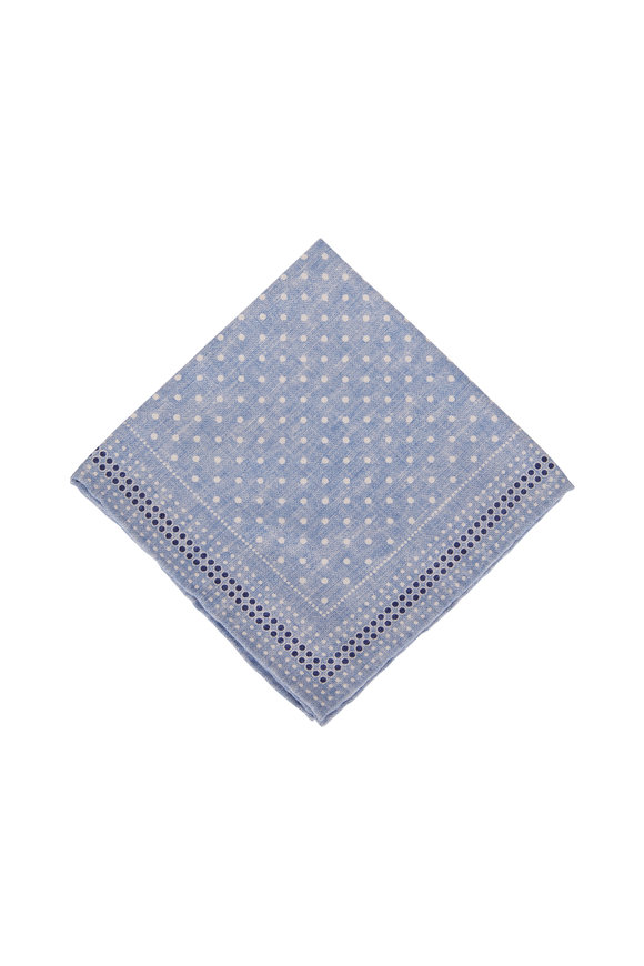 Brunello Cucinelli Light Blue Silk Pocket Square