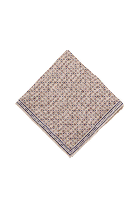 Brunello Cucinelli Cream & Light Blue Geometric Pocket Square