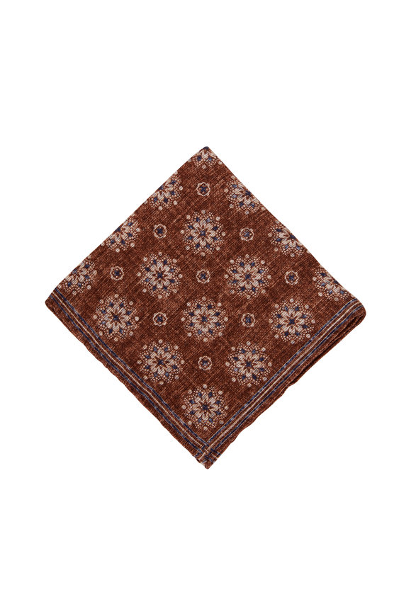 Brunello Cucinelli Brown Large Geometric Print Pocket Square