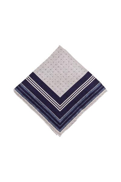 Brunello Cucinelli - Gray Geometric Silk Pocket Square