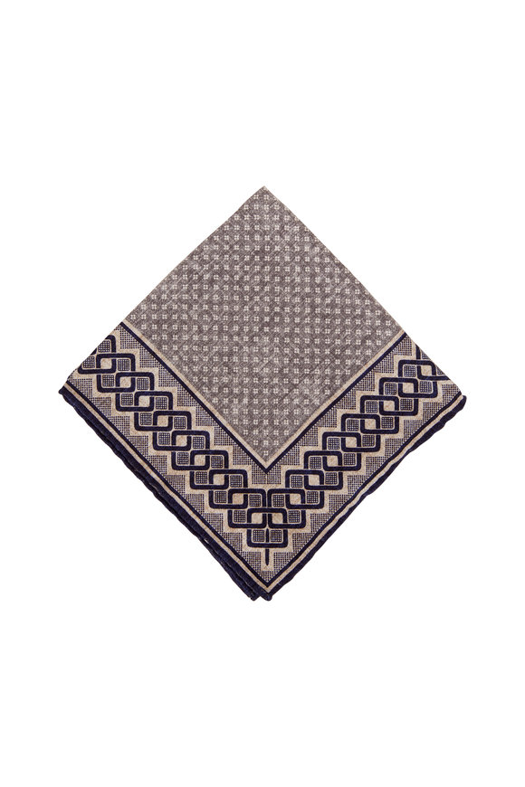 Brunello Cucinelli Grey & Blue Geometric Silk Pocket Square
