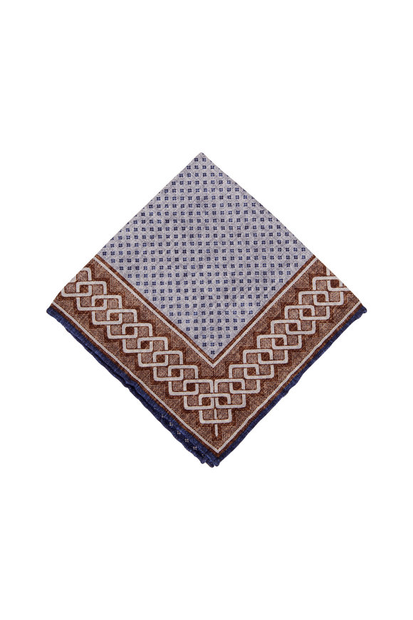 Brunello Cucinelli Navy & Brown Geometric Silk Pocket Square