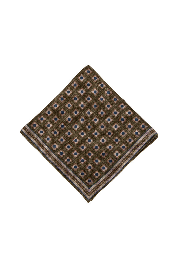 Brunello Cucinelli Olive Geometric Pocket Square