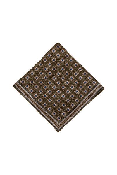 Brunello Cucinelli - Olive Geometric Pocket Square