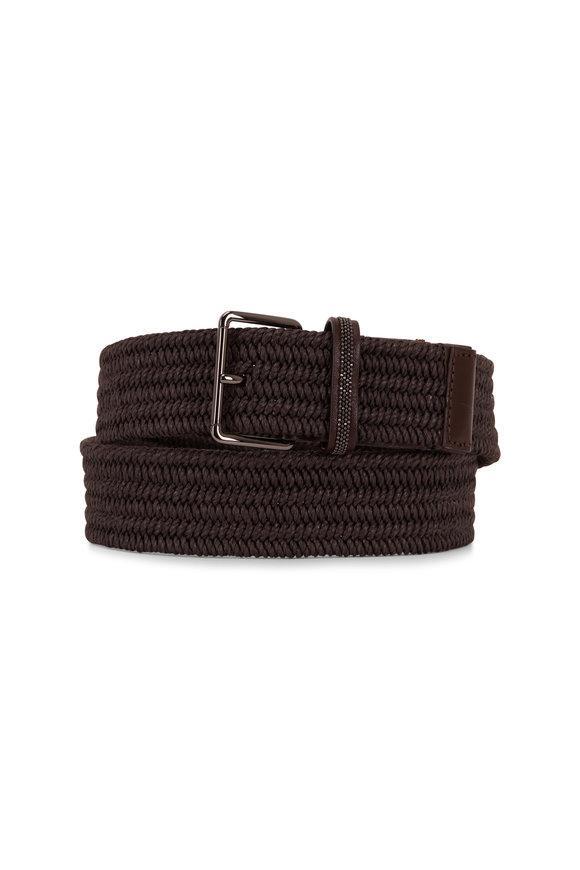 Brunello Cucinelli Brown Raffia & Leather Belt