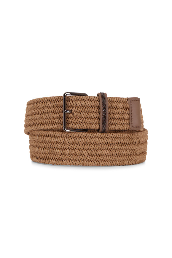 Brunello Cucinelli Natural Raffia & Leather Belt