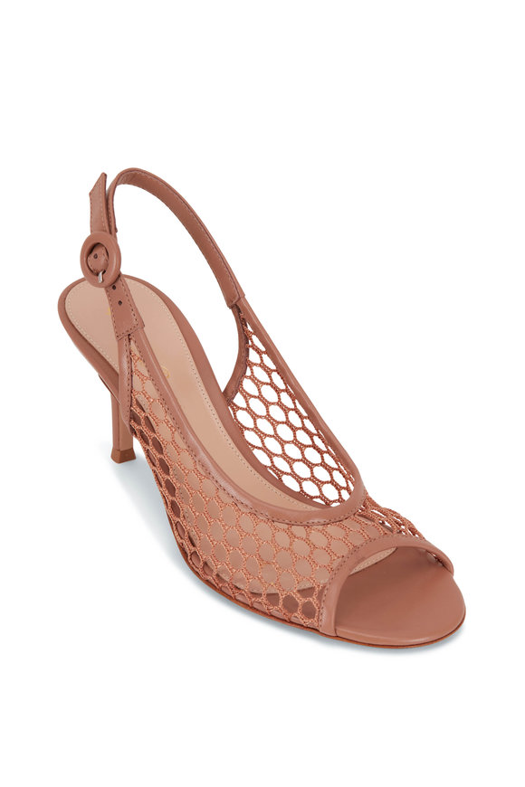 Gianvito Rossi Praline Mesh Leather Slingback Pump, 70mm
