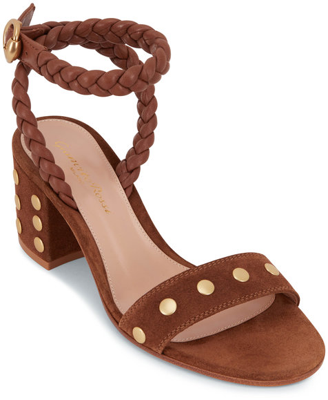 Gianvito Rossi Brown Suede Stud Ankle Strap Sandals, 60mm