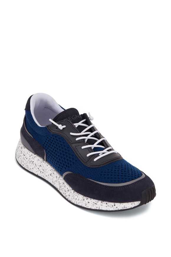 Ermenegildo Zegna Piuma Denim Blue Low Top Sneaker