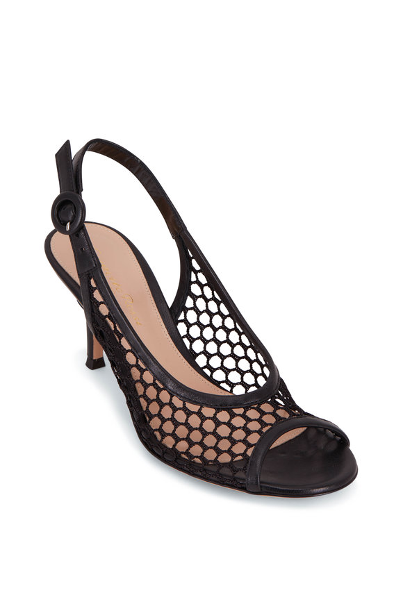 Gianvito Rossi Black Mesh Leather Slingback Pump, 70mm