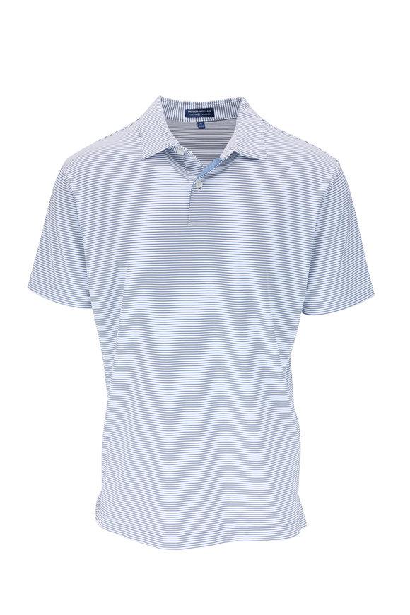 Peter Millar White & Blue Striped Polo