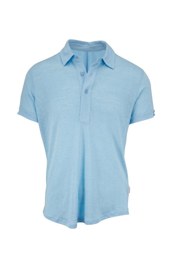 Orlebar Brown Sebastian Larimar Blue Linen Tailored Fit Polo