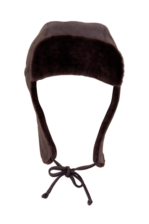 Viktoria Stass Trooper Gray Suede Shearling Hat