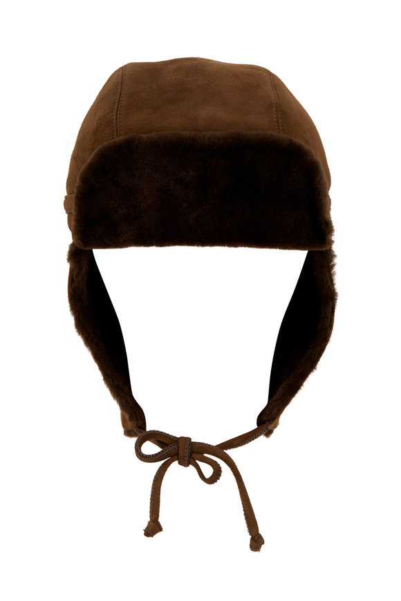 Viktoria Stass Trooper Army Green Suede Shearling Hat