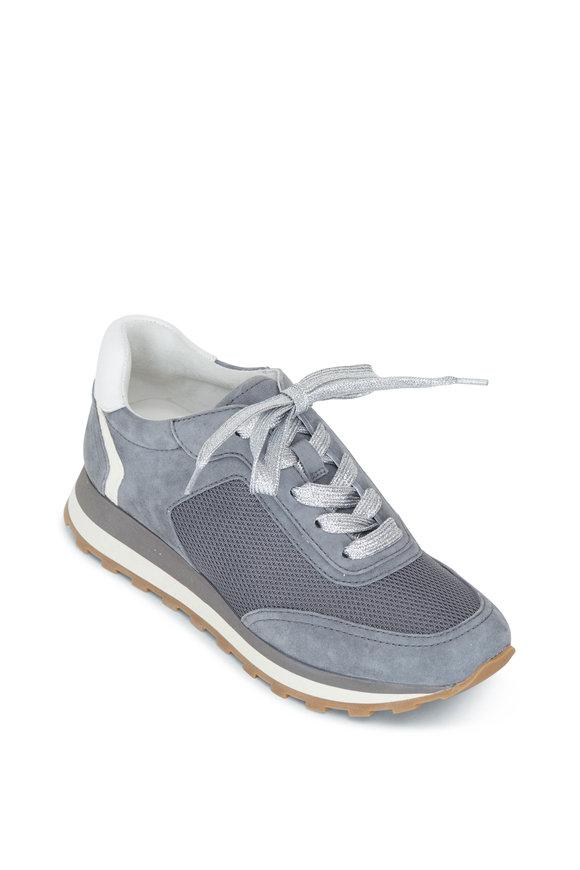 Veronica Beard Hartley Gray Stone Suede Sneaker
