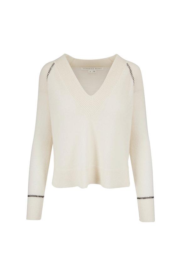 Veronica Beard Preta Ivory Cashmere V-Neck Sweater