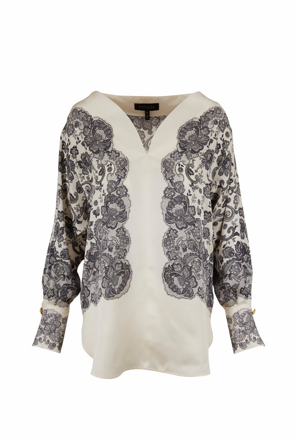 Escada Cream & Black Lace Print Blouse