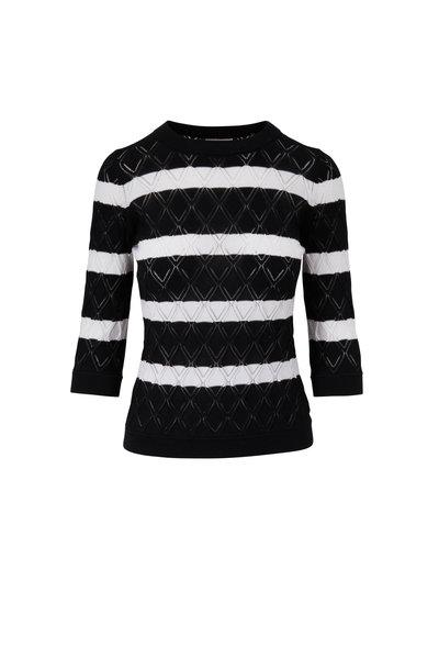 Kinross - Black & White Striped Pointelle Sweater
