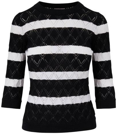 Kinross Black & White Striped Pointelle Sweater