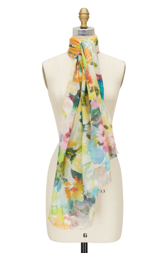 Kinross Multicolor Floral Print Scarf