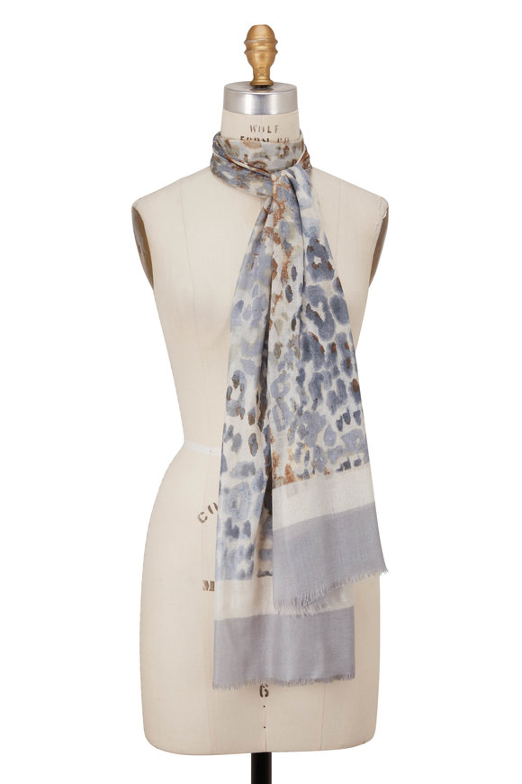 Kinross Dune Faded Leopard Print Scarf