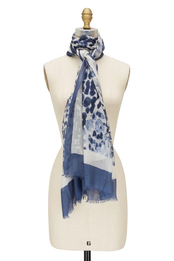Kinross Dark Blue Faded Leopard Print Scarf