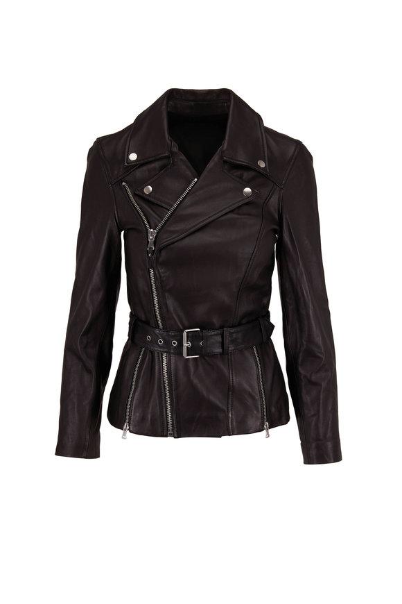 PAIGE Dita Black Leather Belted Jacket