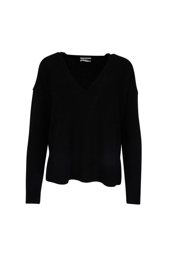 CO Collection Black Wool & Cashmere Vented Hem Sweater