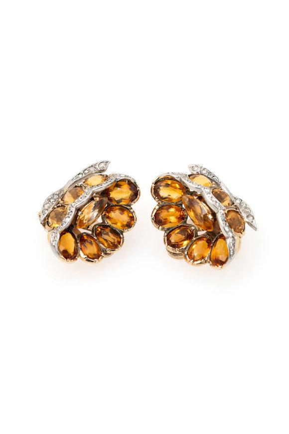 Windsor Jewelers Boucheron Diamond & Citrine Flower Earrings