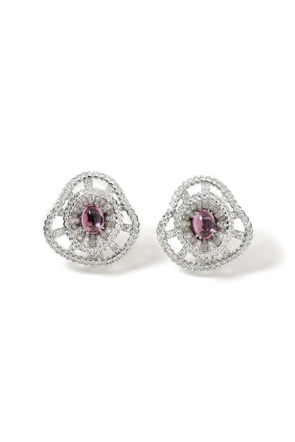 Windsor Jewelers 18K White Gold Diamond & Spinel Button Earrings