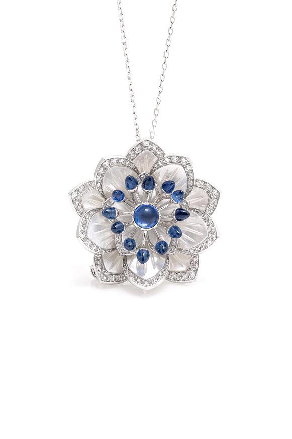 Windsor Jewelers 18K Gold Diamond & Sapphire Flower Necklace