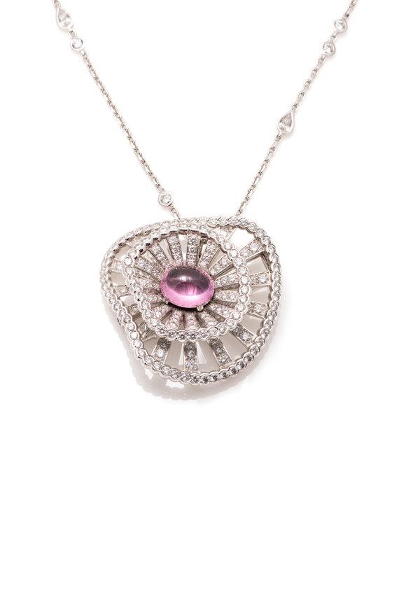 Windsor Jewelers 18K Gold Diamond & Pink Spinel Pendant Necklace