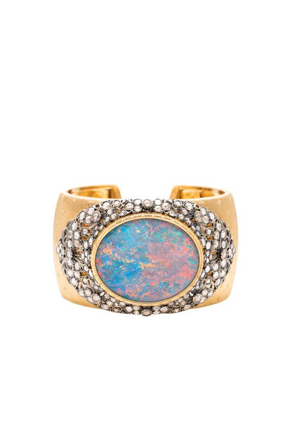 Windsor Jewelers 18K Yellow Gold Buccellati Opal Estate Cuff