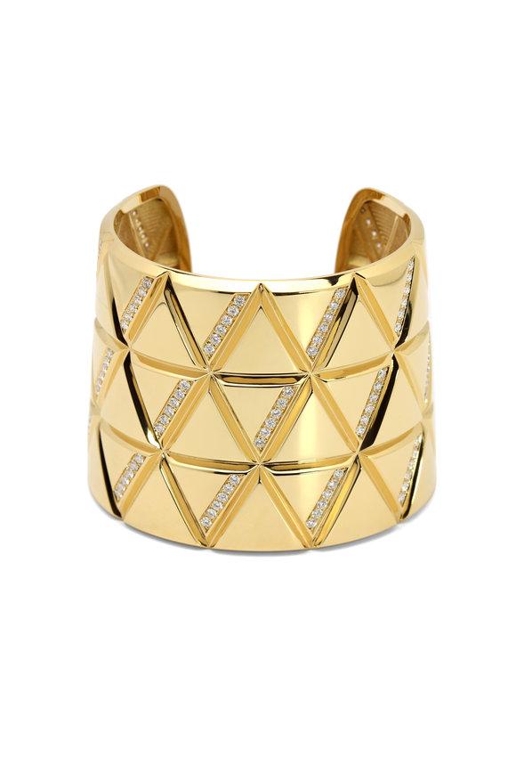 Windsor Jewelers Marina B Gold Diamond Wide Cuff