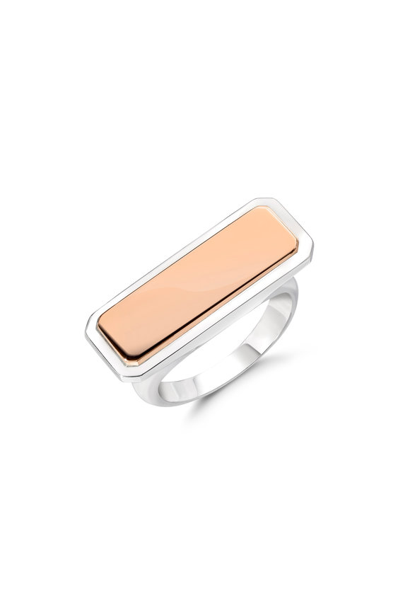 Walters Faith 18K Rose Gold & Sterling Silver ID Bar Ring