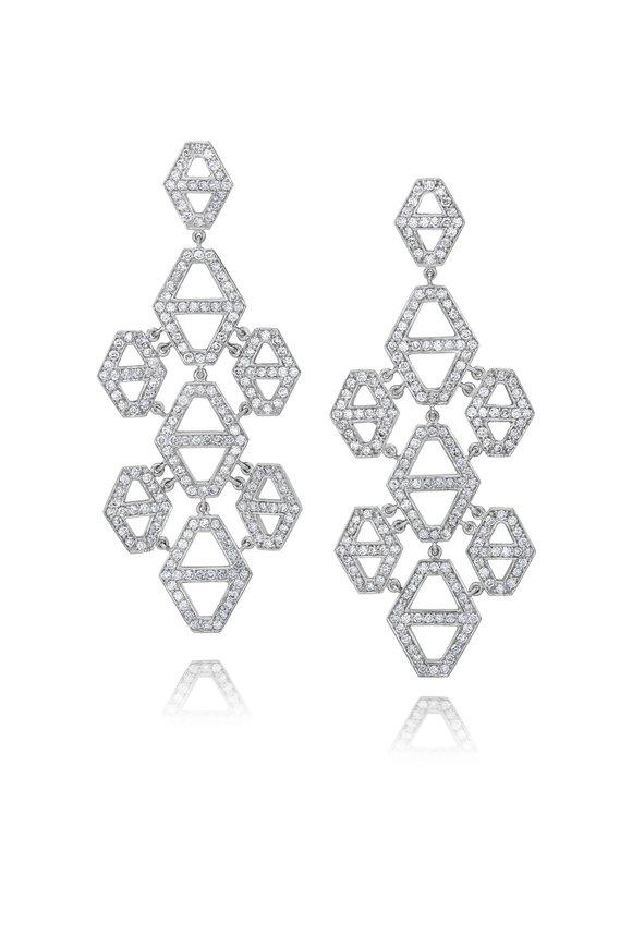 Walters Faith 18K White Gold Diamond Chandelier Earrings