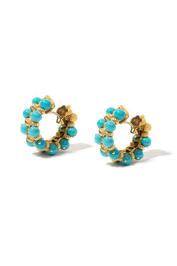 Windsor Jewelers 18K Yellow Gold Turquoise Hoops