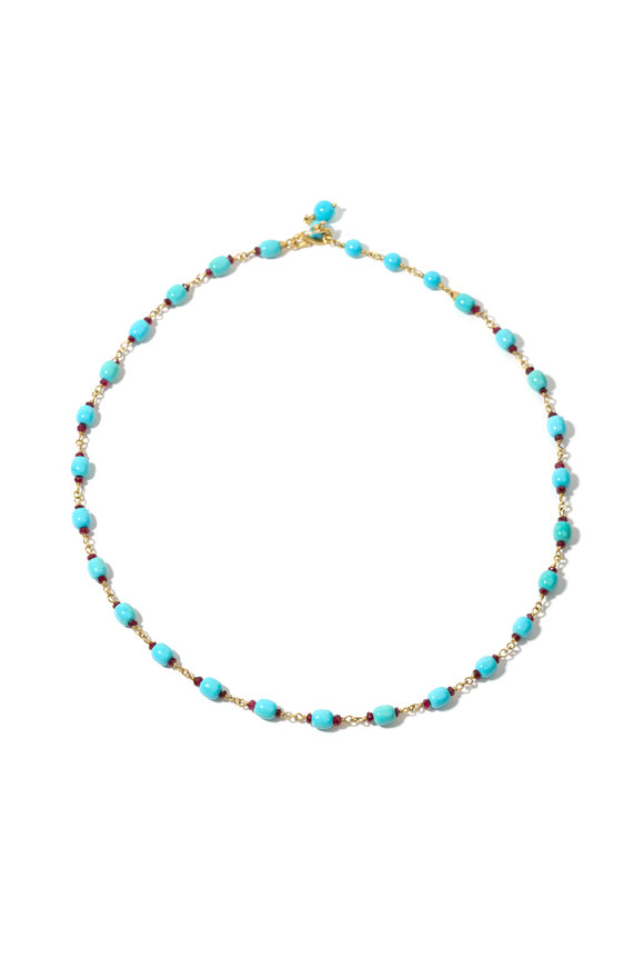 Windsor Jewelers 18K Yellow Gold Turquoise & Ruby Beaded Necklace