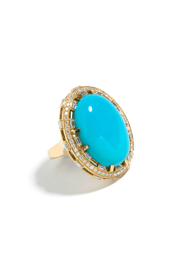 Windsor Jewelers 18K Yellow Gold Turquoise & Diamond Cocktail Ring