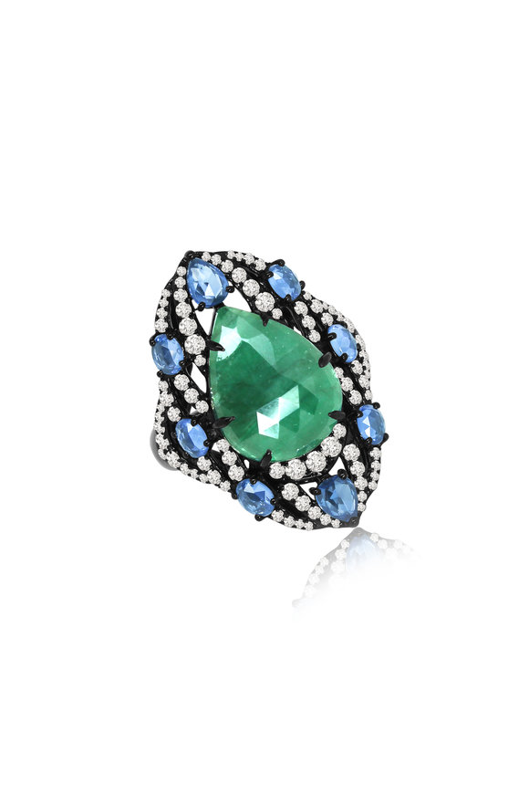 Sutra Emerald, Sapphire & Diamond Cocktail Ring