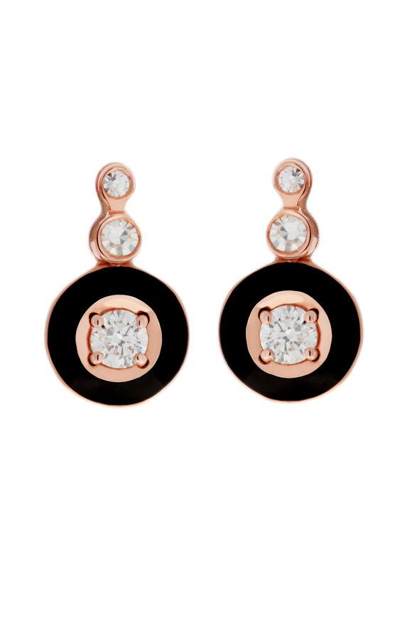 Selim Mouzannar Rose Gold Black Enamel & Diamond Cluster Earrings