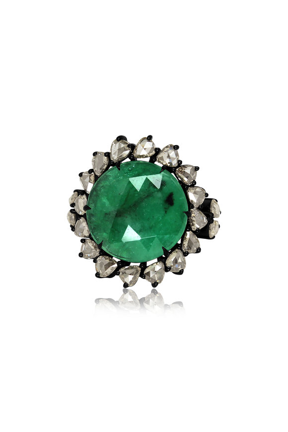 Sutra 18K White Gold Emerald & Diamond Ring