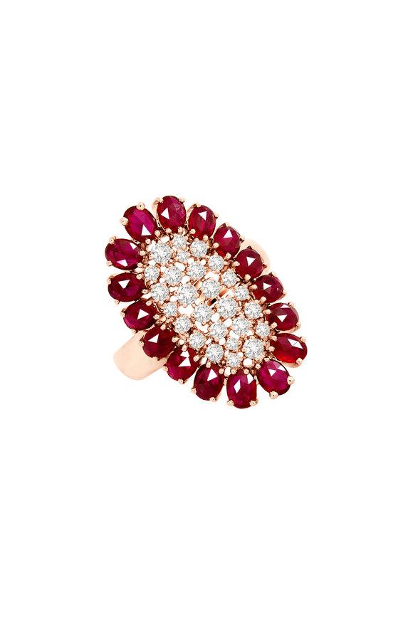 Sutra 18K Rose Gold Diamond & Ruby Ring