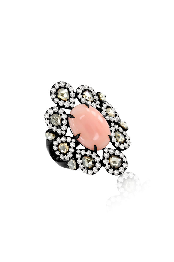 Sutra 18K Rose Gold Pink Opal & Diamond Cocktail Ring