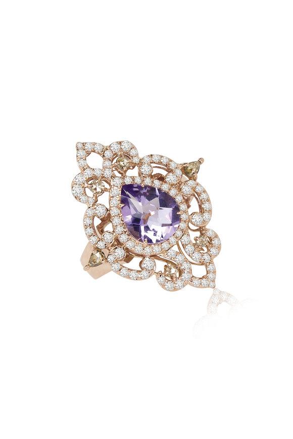 Sutra 18K Rose Gold Amethyst & Diamond Ring