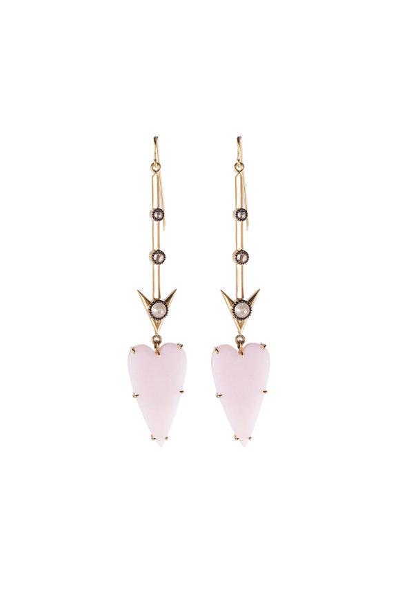 Sylva & Cie 18K Yellow Gold Pink Opal Heart Arrow Earrings